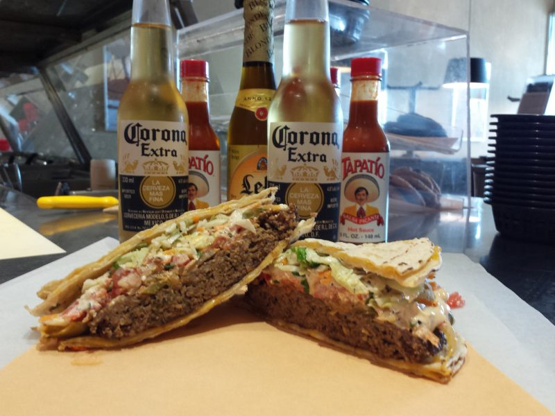 A Corona goes great with a Taco Burger. Many of Burrito Splendito's locations are licensed.